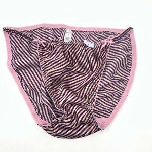 Vtg Satin String Bikini Panties Bows Delicates 8